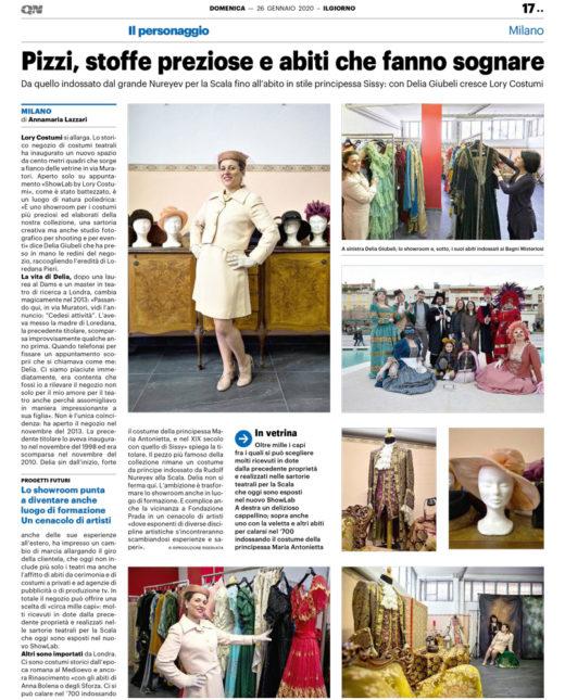 LaLory ILGIORNO 26gennaio2020 520x645 - Il Giorno dedica una pagina a La Lory costumi