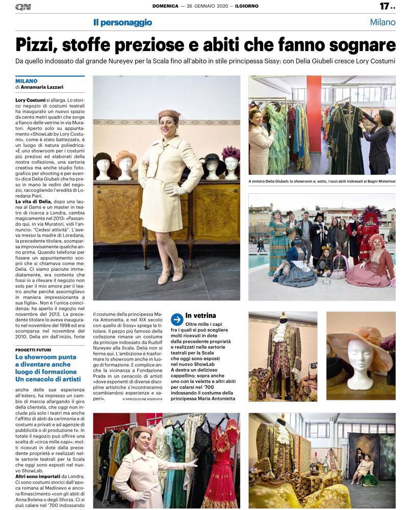 LaLory ILGIORNO 26gennaio2020 - Il Giorno dedica una pagina a La Lory costumi